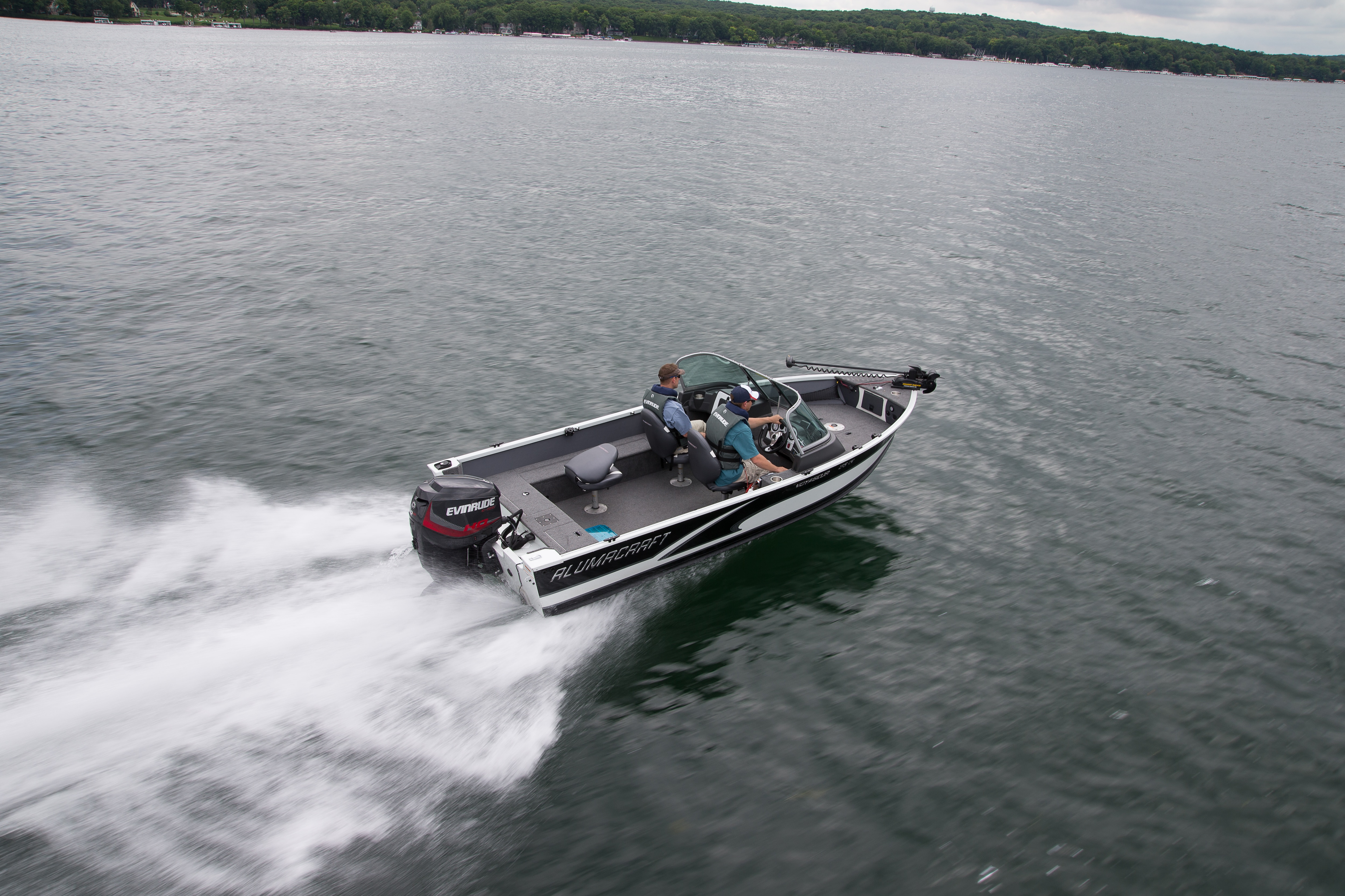 Alumacraft boat yielding an Evinrude motor