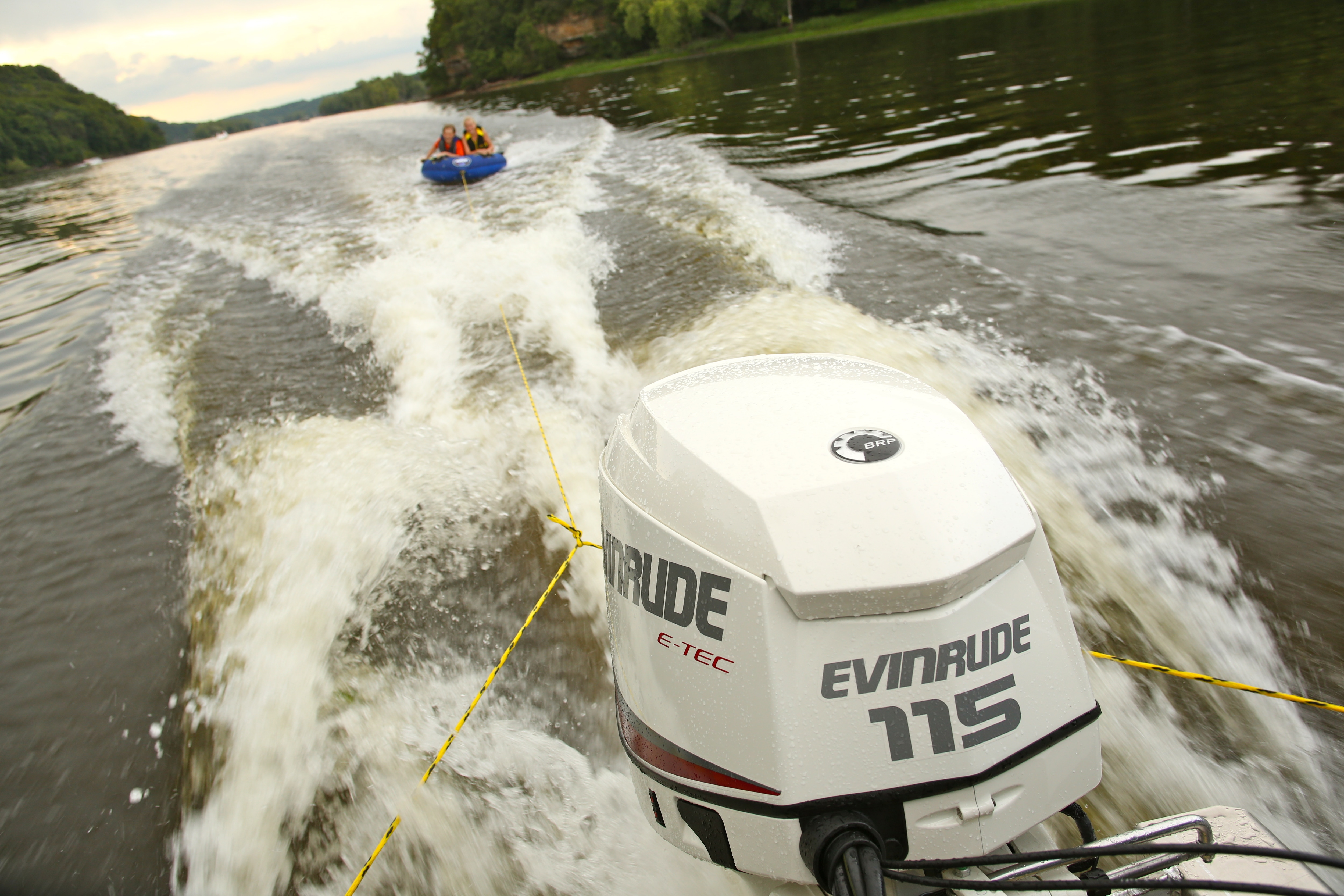 Close-up of an Evinrude 115 boat motor