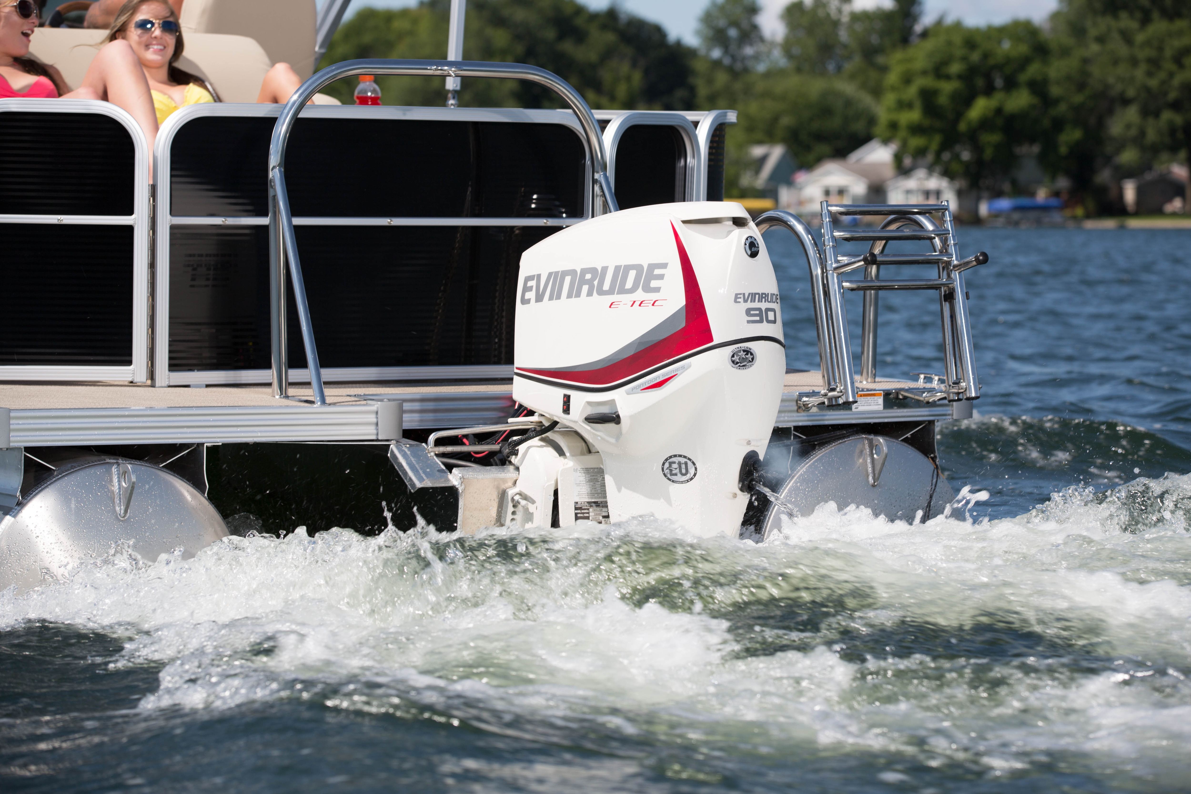 Close-up of Evinrude pontoon boat