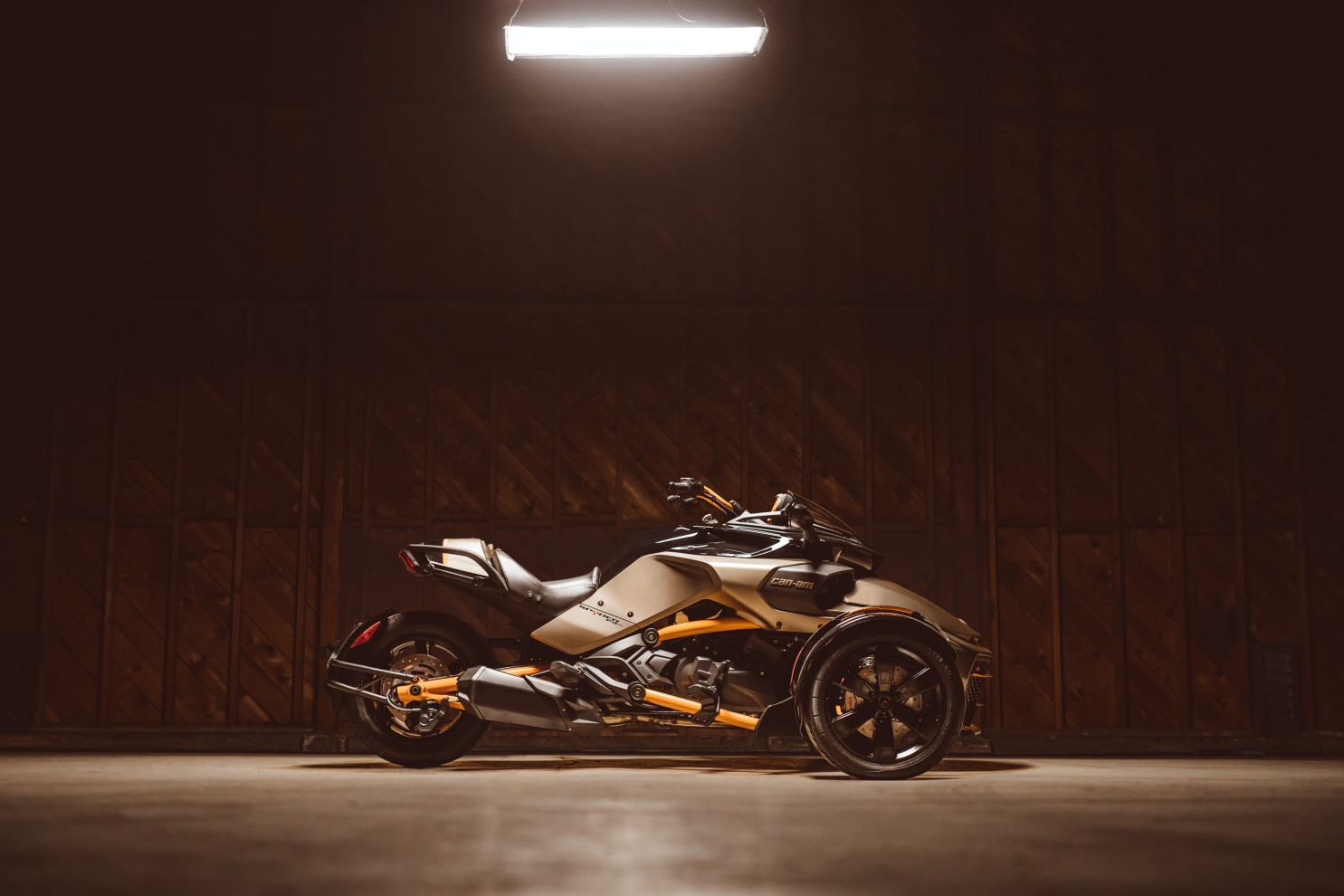 A Spyder F3 being showcased in a wooden warehouse
