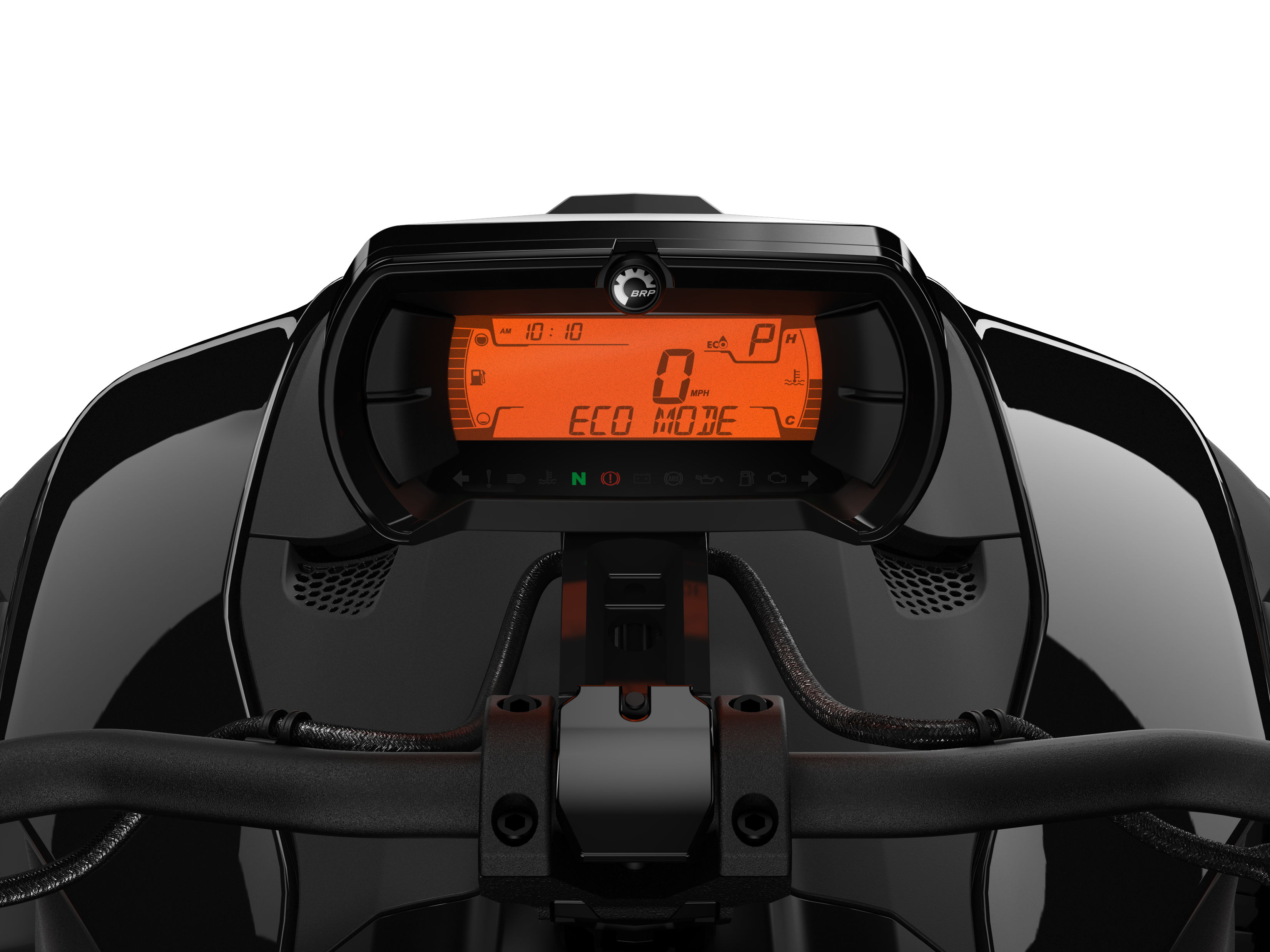 The driver's seat view of a Can-Am Ryker vehicle's console with Eco Mode Smart Assist activated