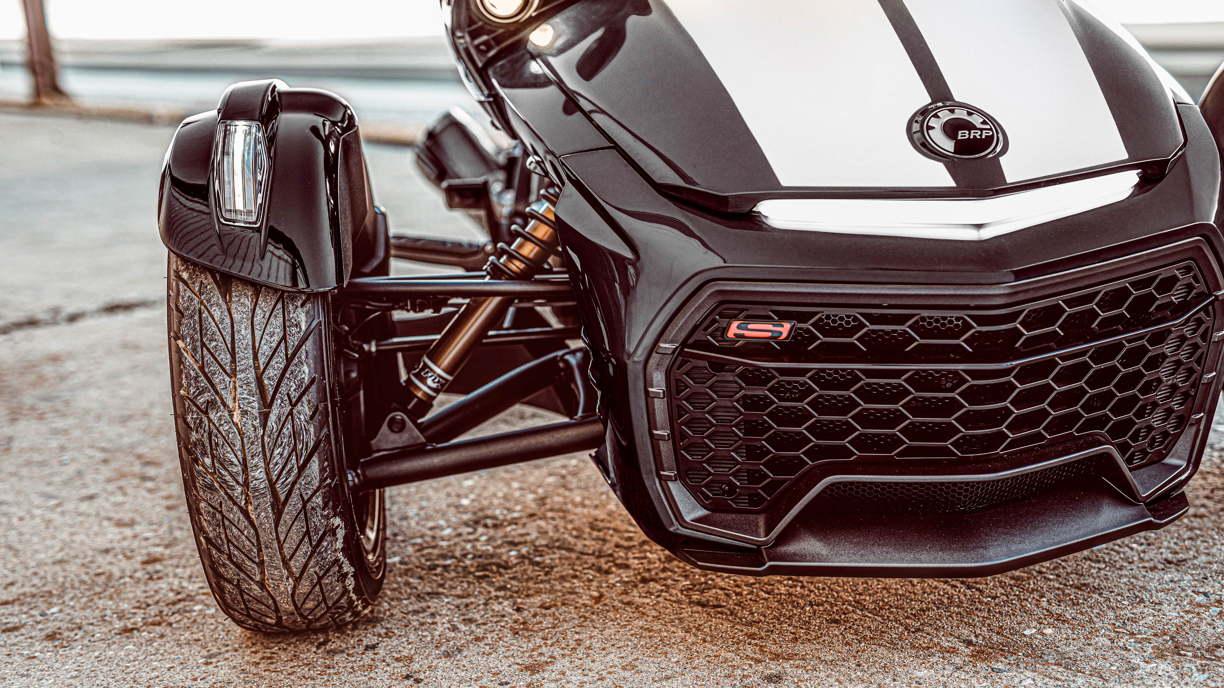 Front of a Can-Am Spyder F3-S vehicle