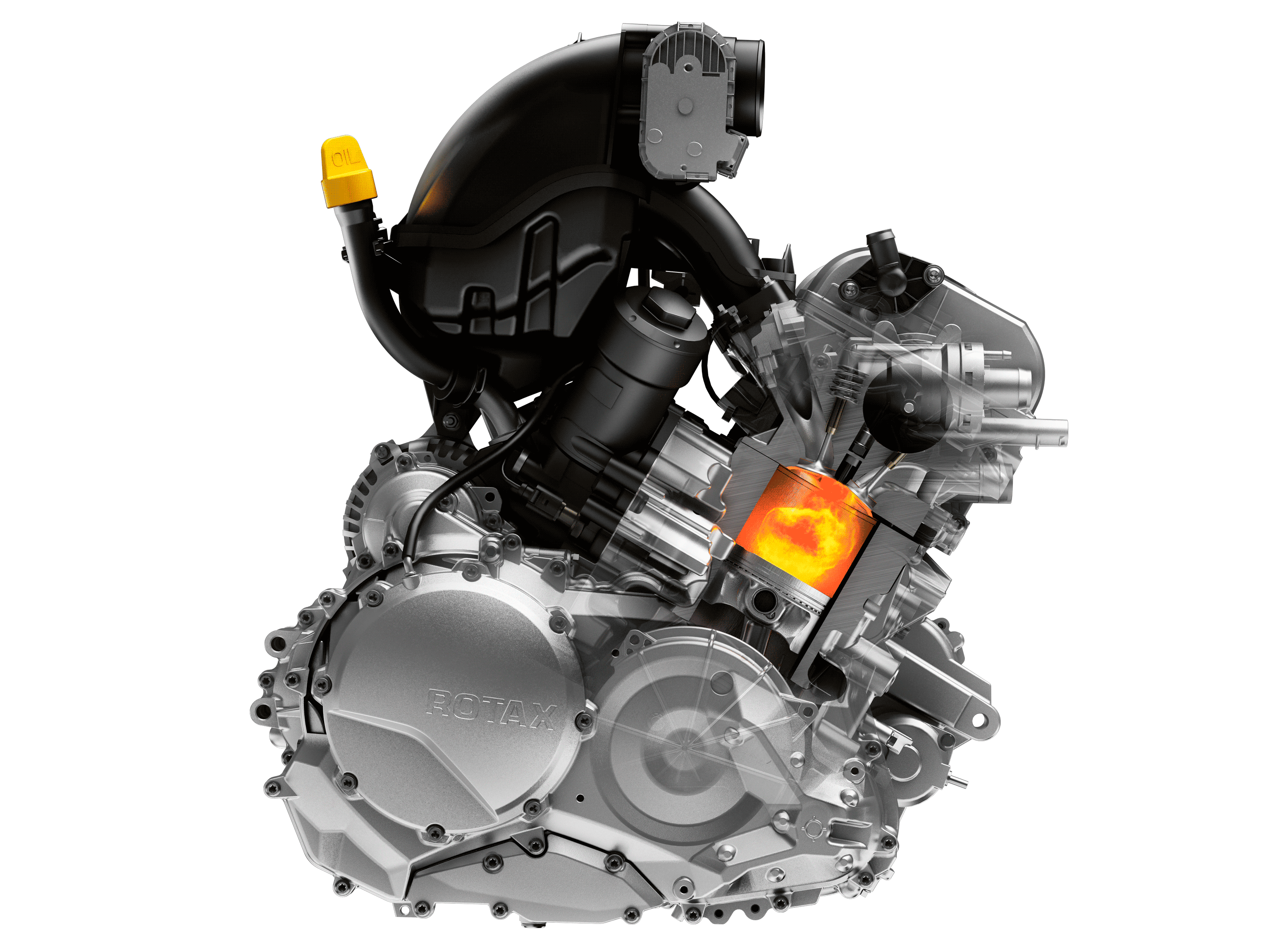 A Can-Am Spyder vehicle engine