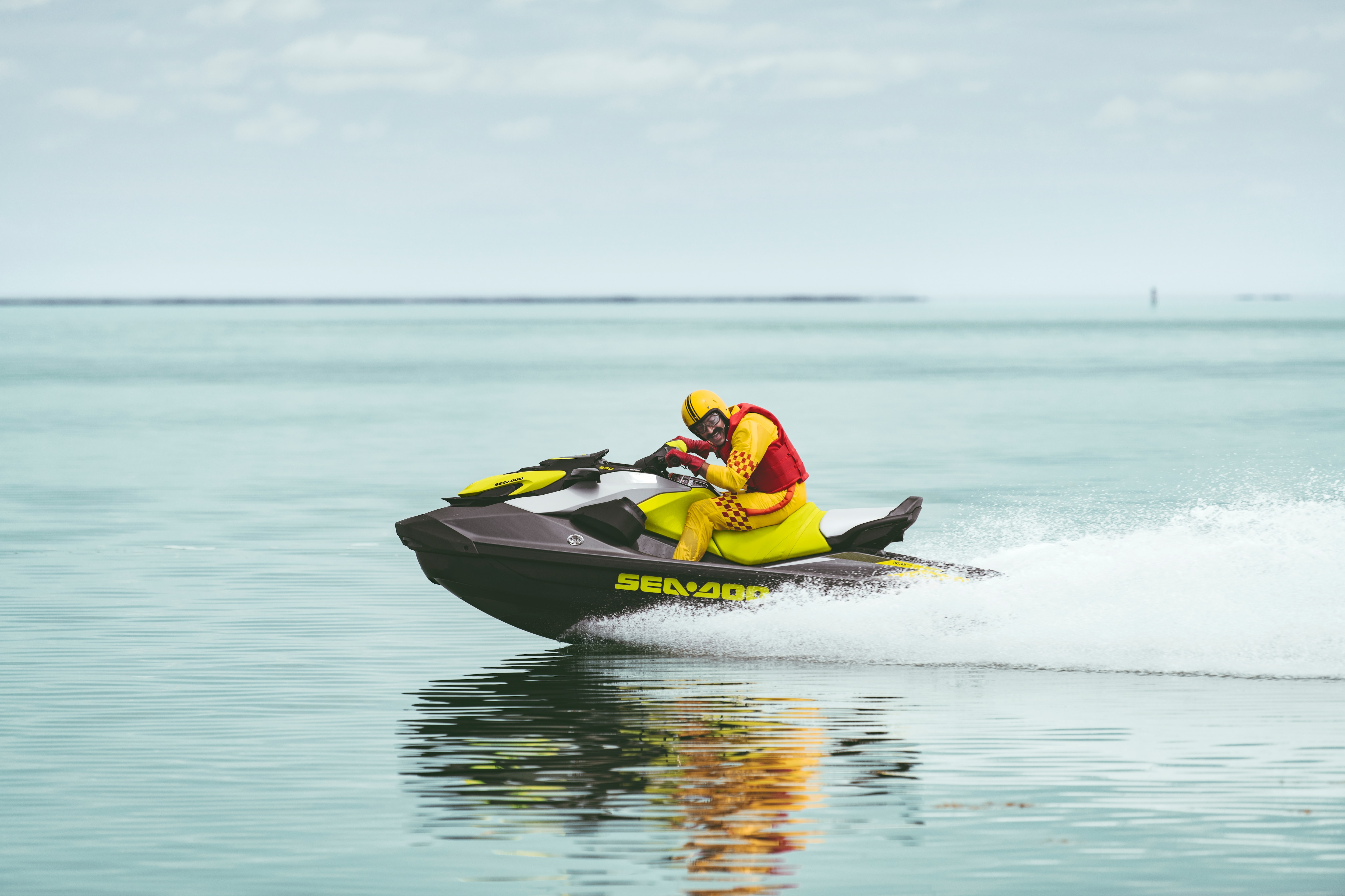 Mustached man looking at the camera while riding his Sea-Doo GTR