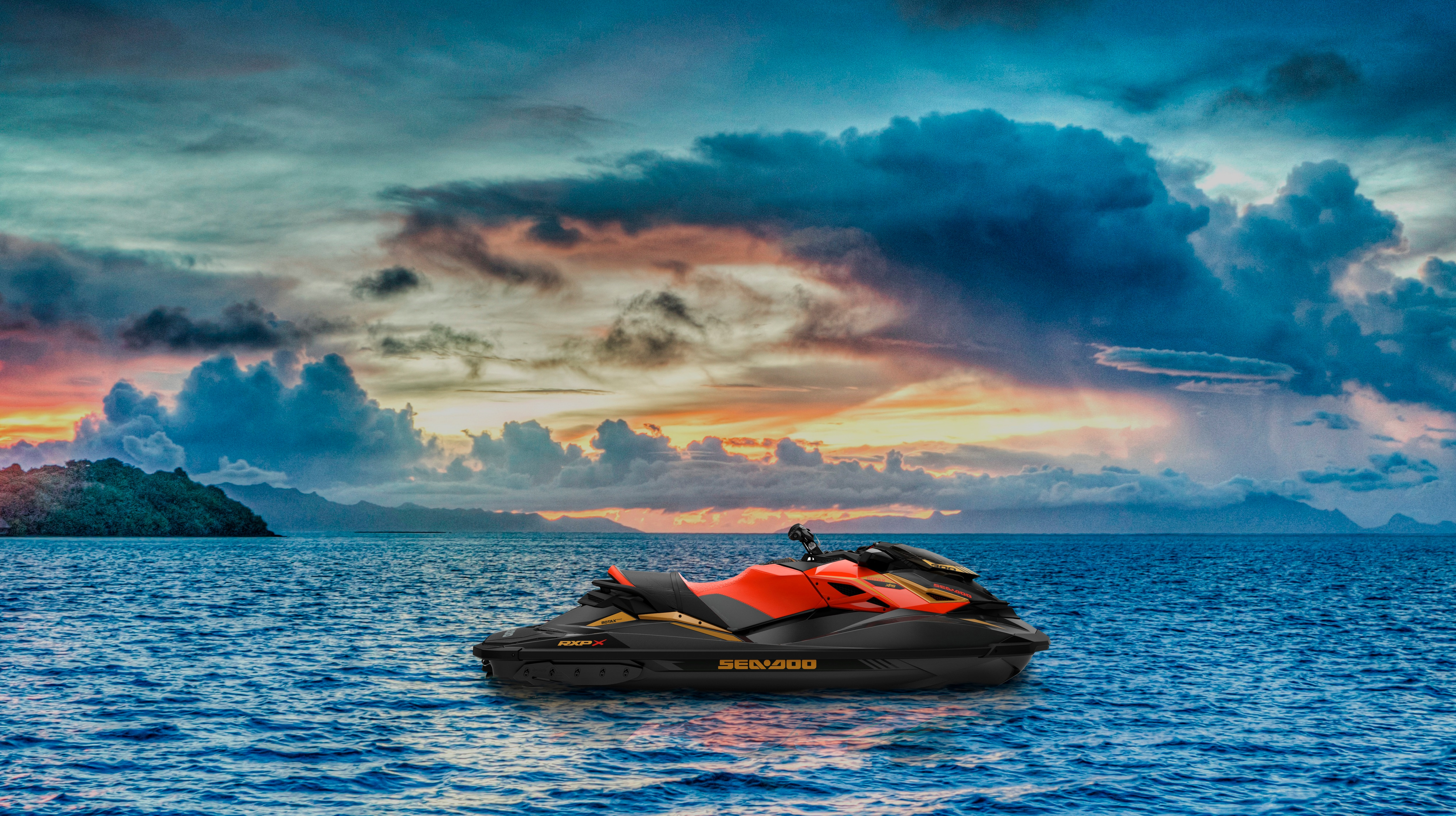 Scenic landscape of a parked Sea-Doo RXP