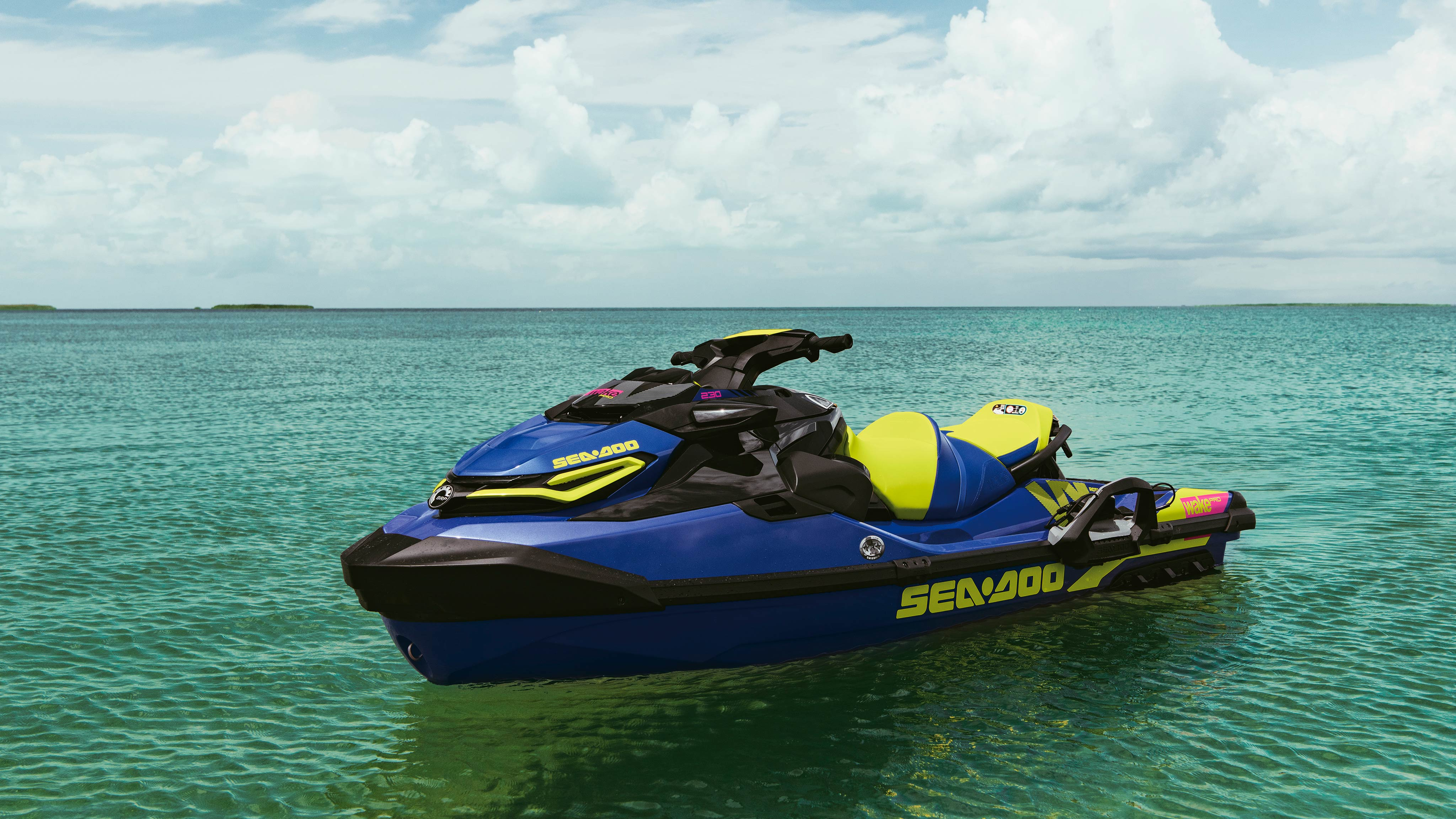 Beauty shot of a Sea-Doo Wake Pro parked in the water