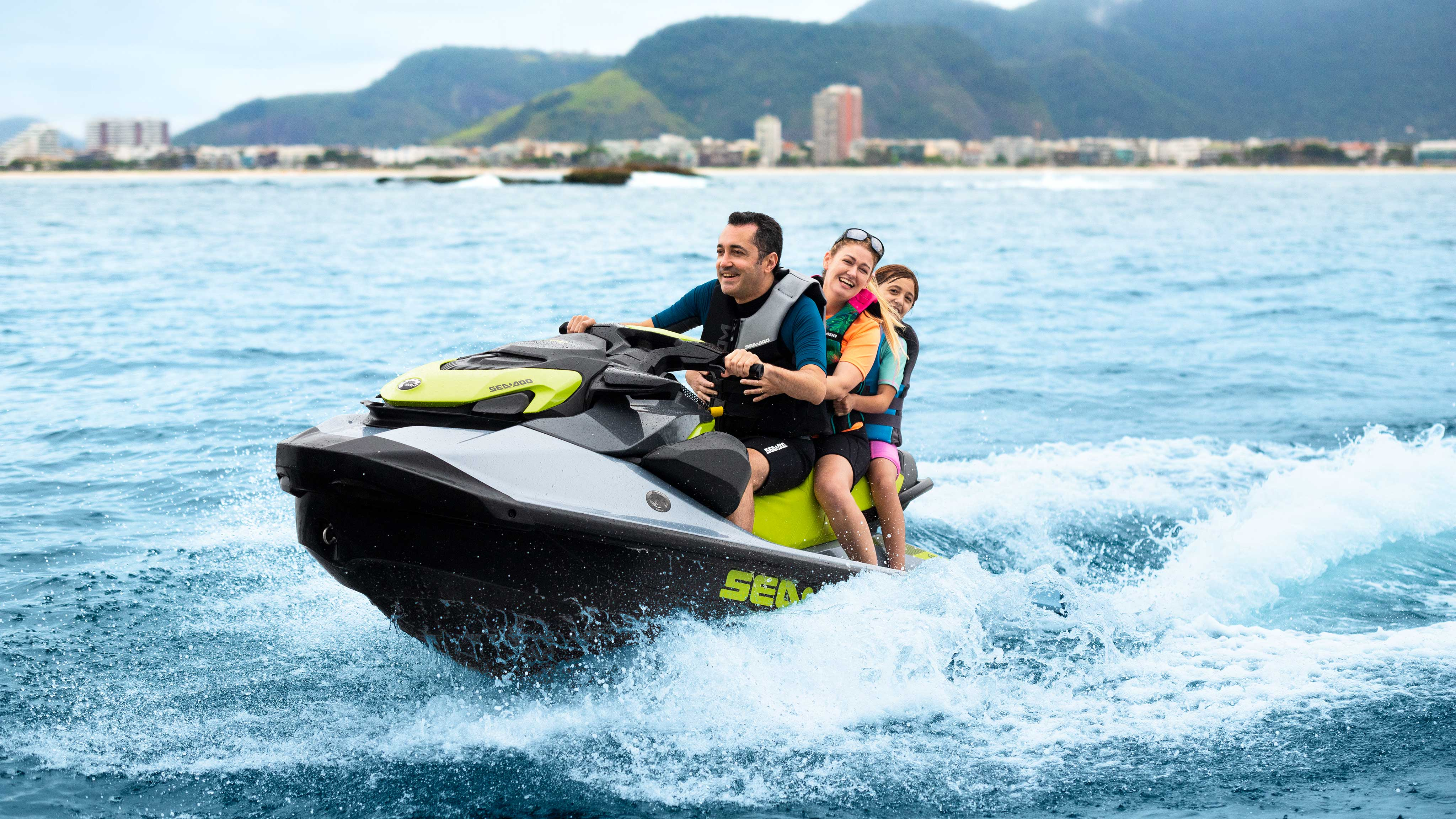 Family riding on a Sea-Doo GTI SE