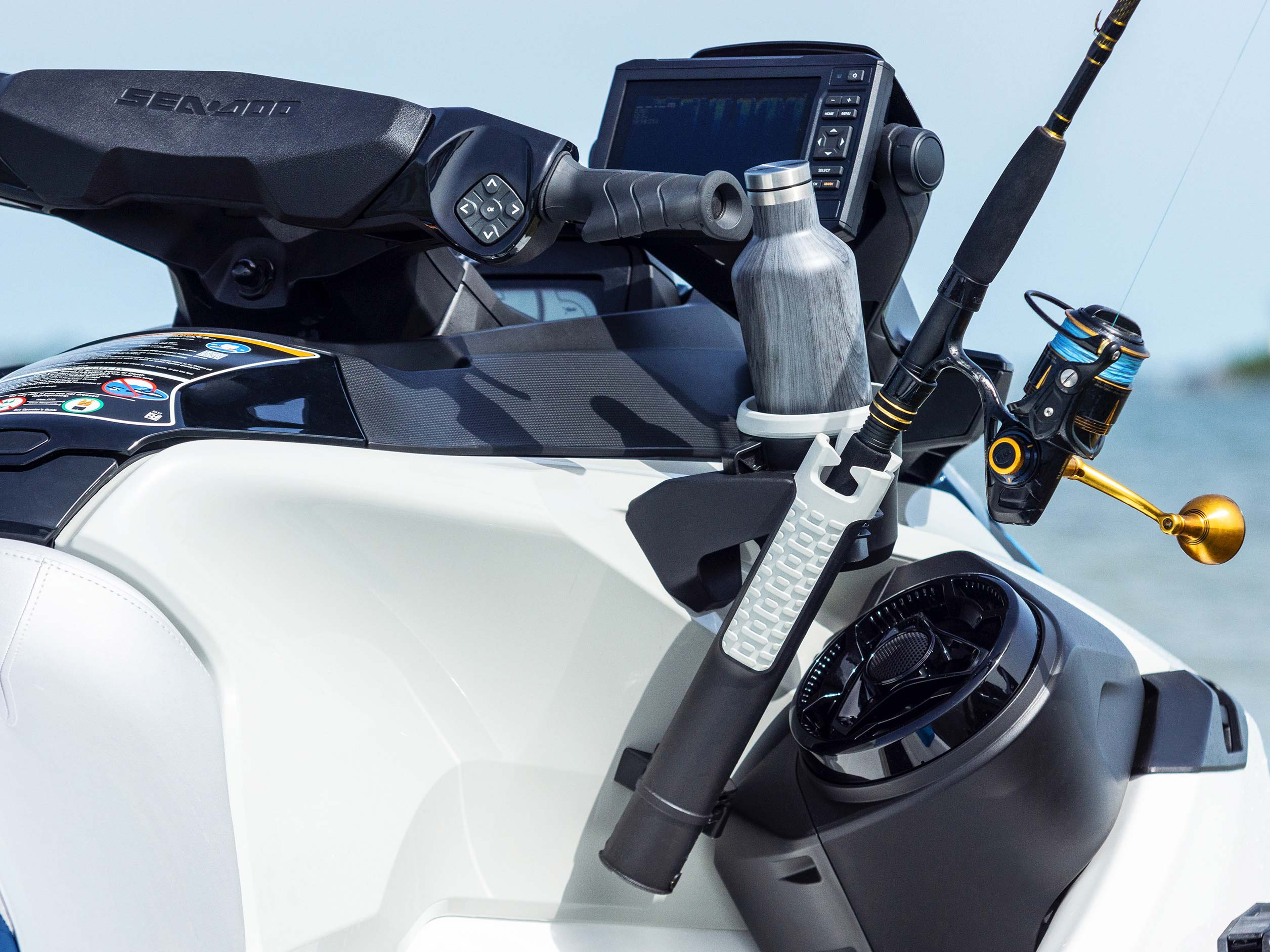Cup and rod holder on the new Sea-Doo Fish Pro