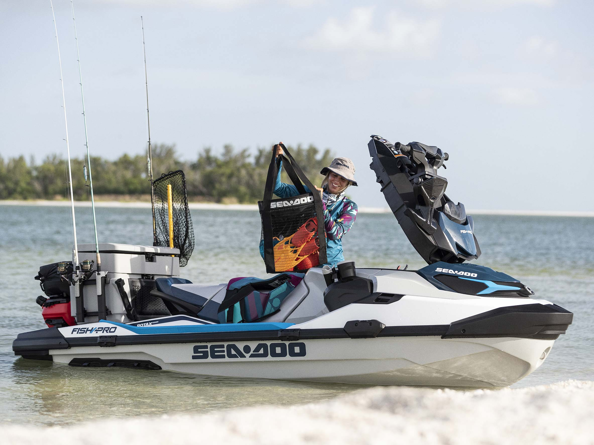 Woman preparing her Sea-Doo Fish Pro for a fishing ride