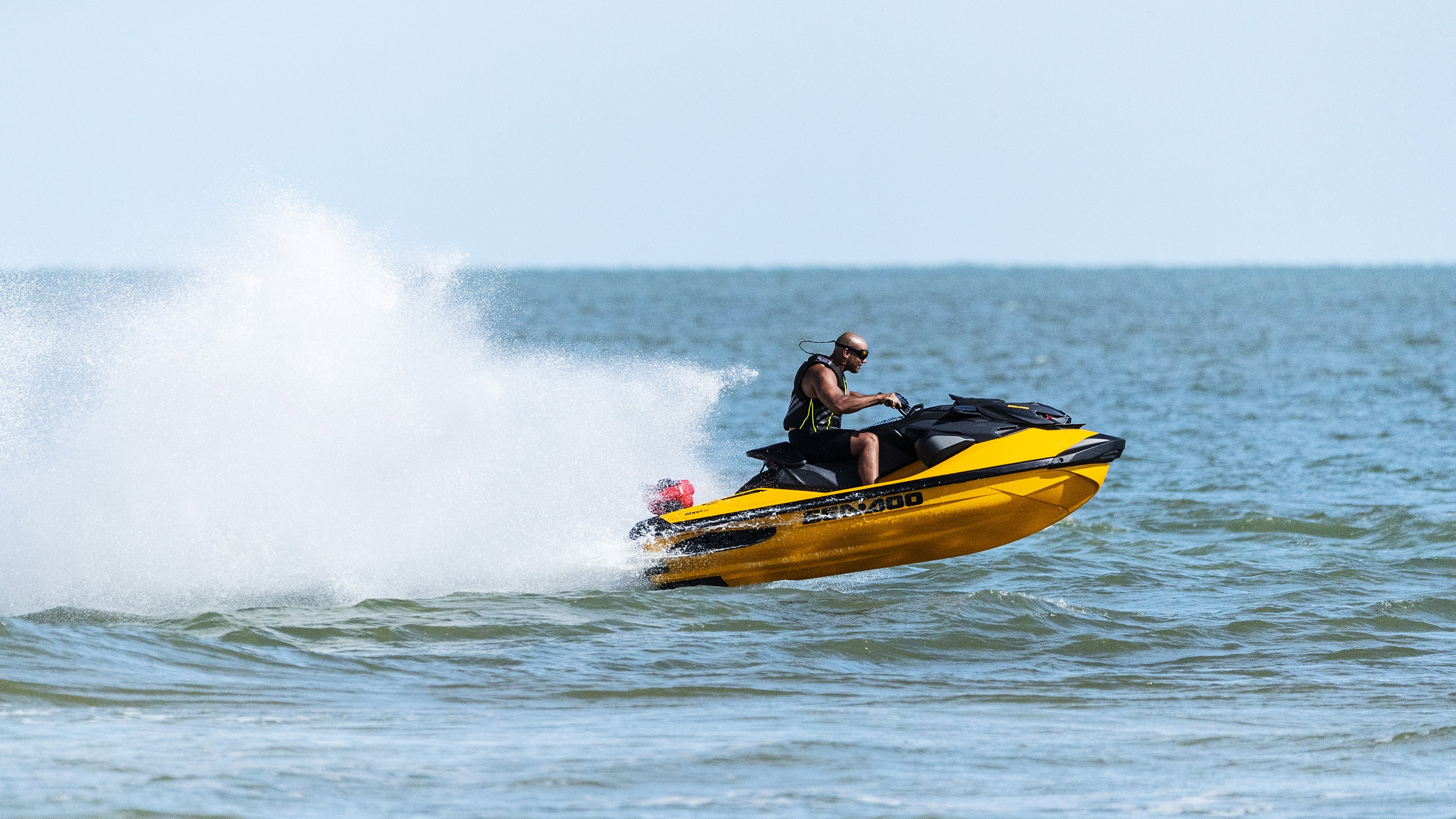 Man speeding a Sea-Doo RXP-X with a Rotax 1630 engine