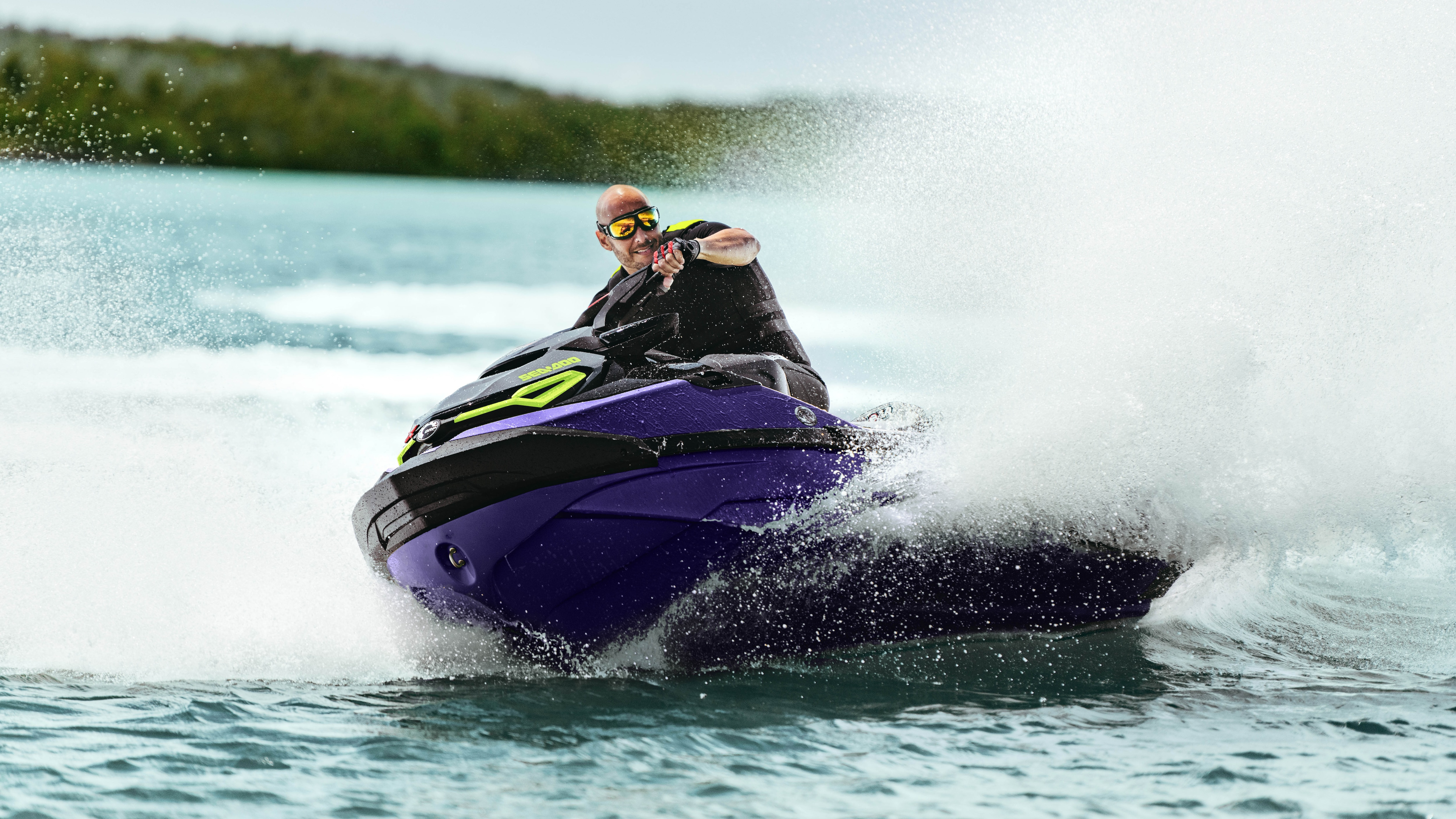 Man speeding with a Sea-Doo RXT-X and the Rotax 160 ACE engine
