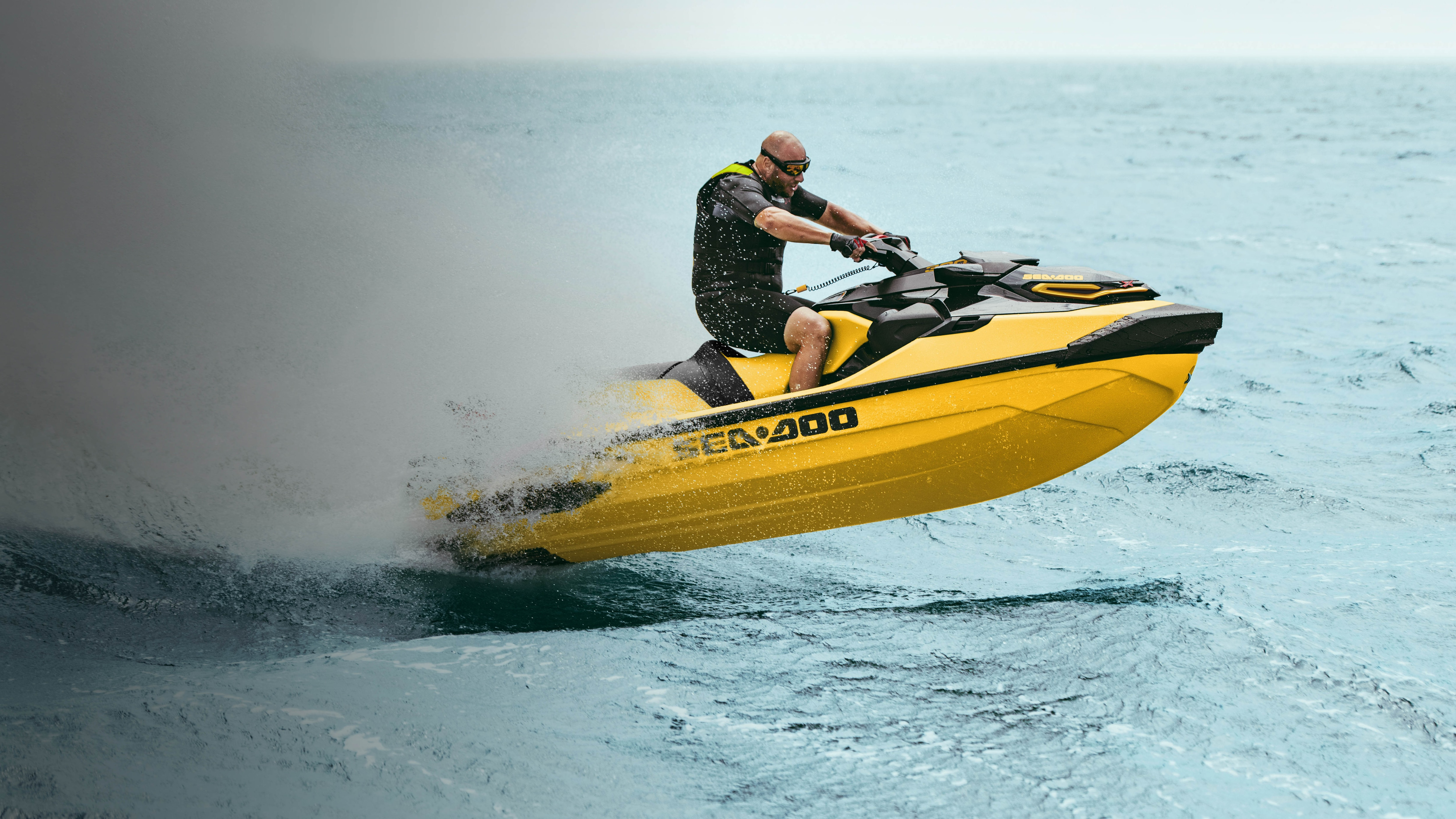 Man speeding with a Sea-Doo RXT-X and its stable hull