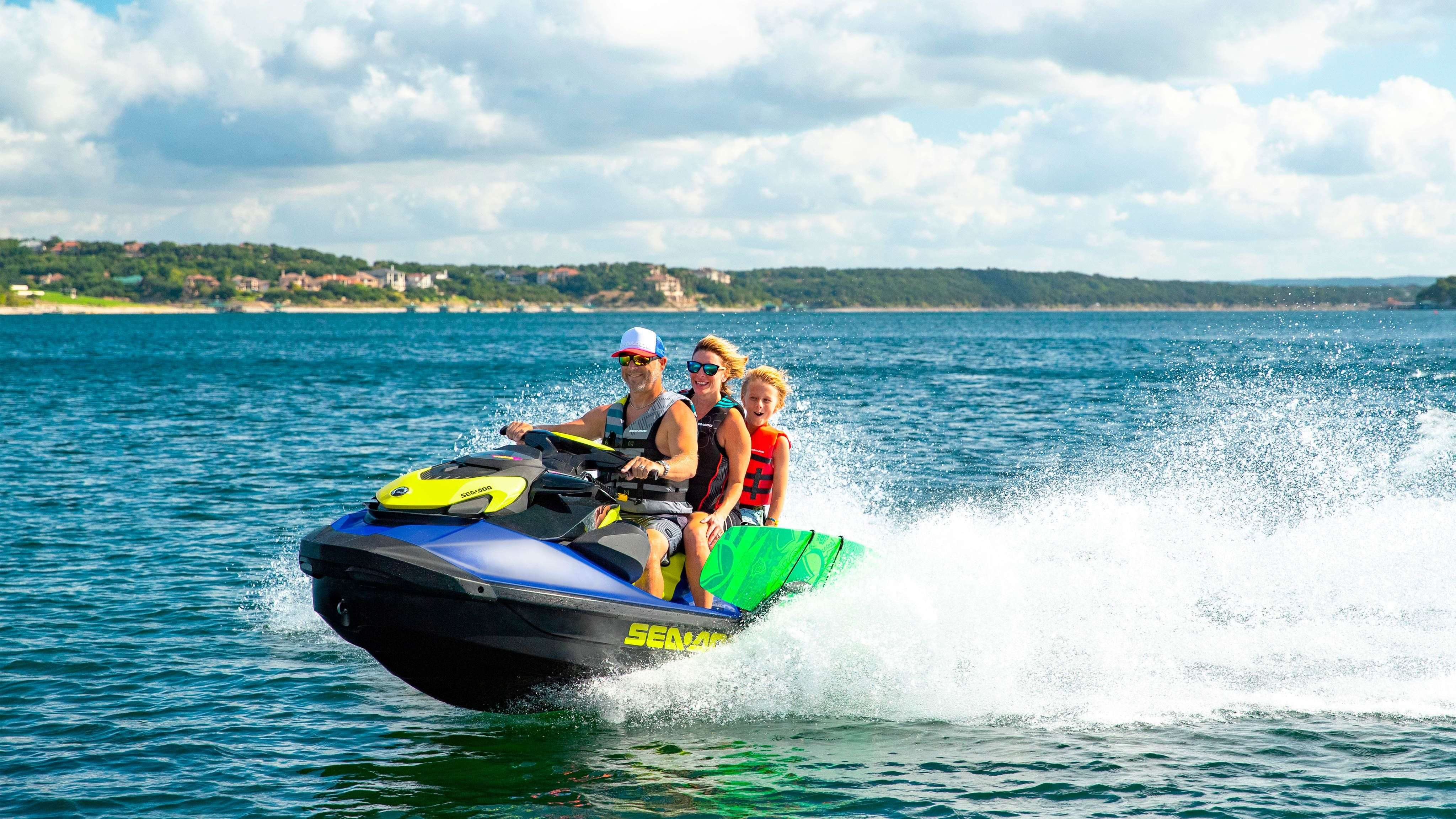 Family enjoying the Sea-Doo life on a Sea-Doo Wake